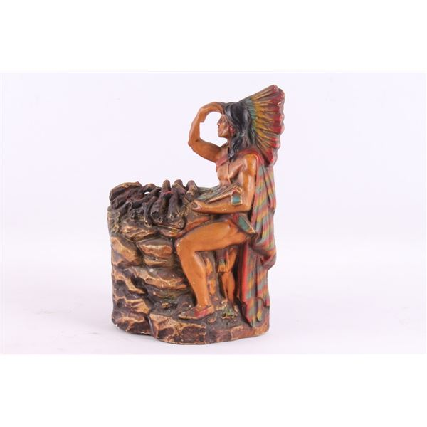 Art Deco Style Indian Chief & Campfire Lamp