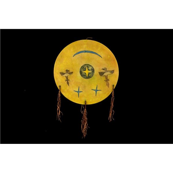 Sioux Ghost Dance Polychrome Painted Shield