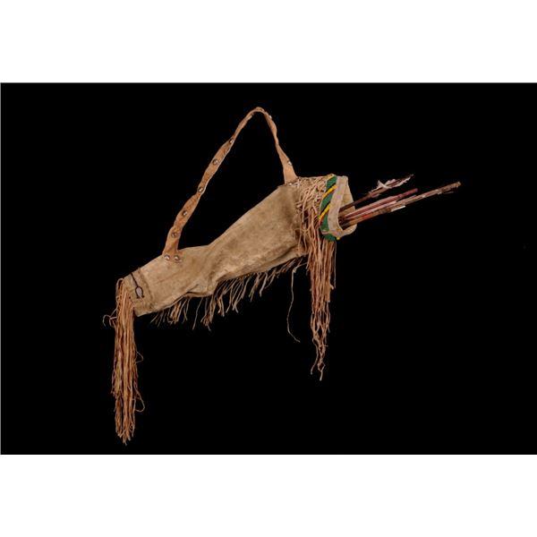 Apache Beaded Hide Arrow Quiver w/ Arrows