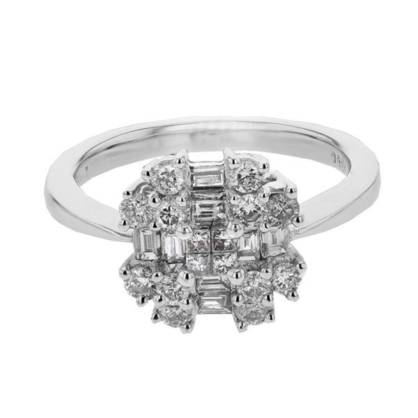 Natural 0.85 CTW Baguette & Diamond Ring 18K White Gold - REF-122Y4N