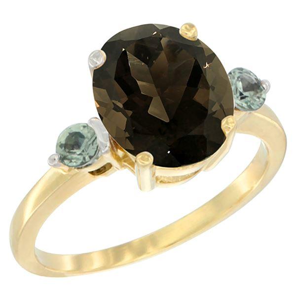 2.64 CTW Quartz & Green Sapphire Ring 14K Yellow Gold - REF-32F3N