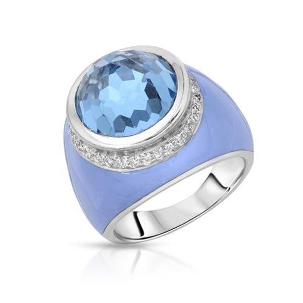 Natural 10.63 CTW Topaz & Diamond Ring 14K White Gold - REF-108R9K