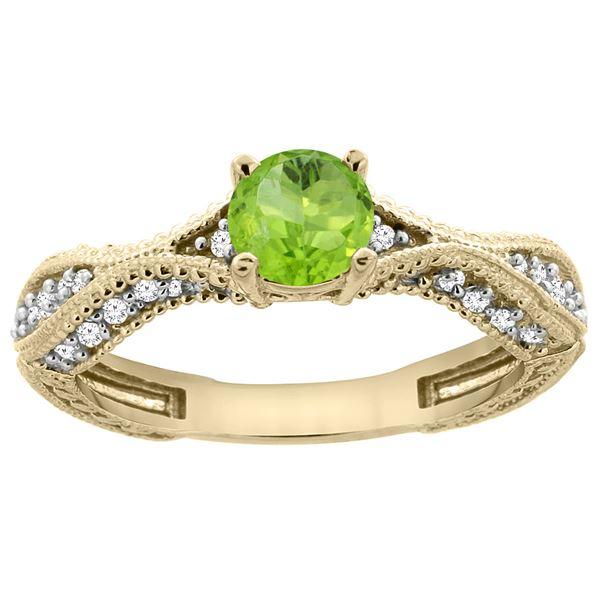 0.70 CTW Peridot & Diamond Ring 14K Yellow Gold - REF-67R7H