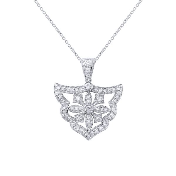 Natural 0.58 CTW Diamond Necklace 18K White Gold - REF-100Y8N