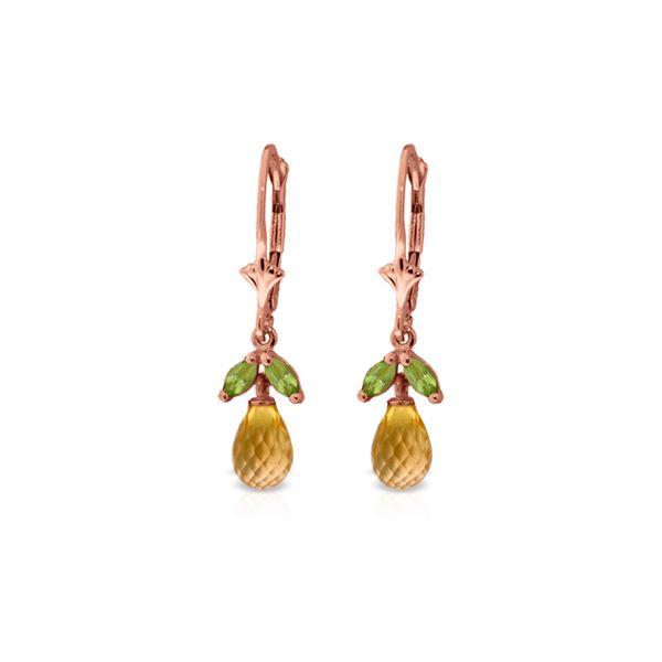 Genuine 3.4 ctw Citrine & Peridot Earrings 14KT Rose Gold - REF-26F6Z