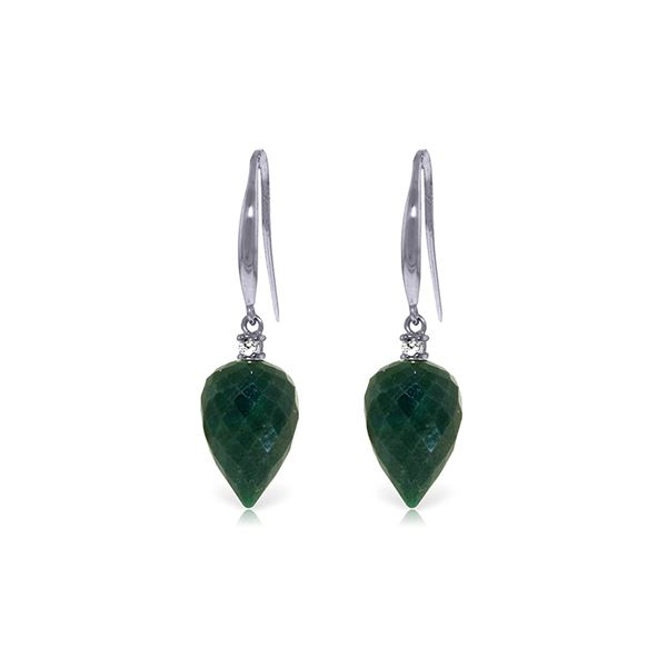 Genuine 25.9 ctw Green Sapphire Corundum & Diamond Earrings 14KT White Gold - REF-42H9X