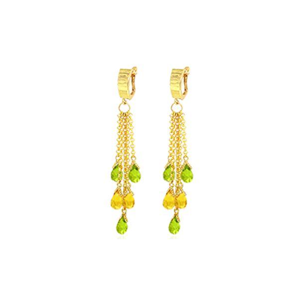 Genuine 7.3 ctw Peridot & Citrine Earrings 14KT Yellow Gold - REF-62A3K