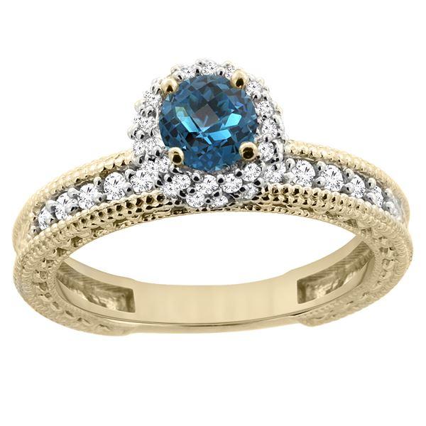 0.91 CTW London Blue Topaz & Diamond Ring 14K Yellow Gold - REF-66M2K