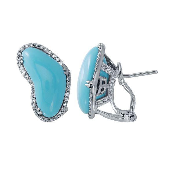 Natural 8.84 CTW Turquoise & Diamond Earrings 14K White Gold - REF-73H8W