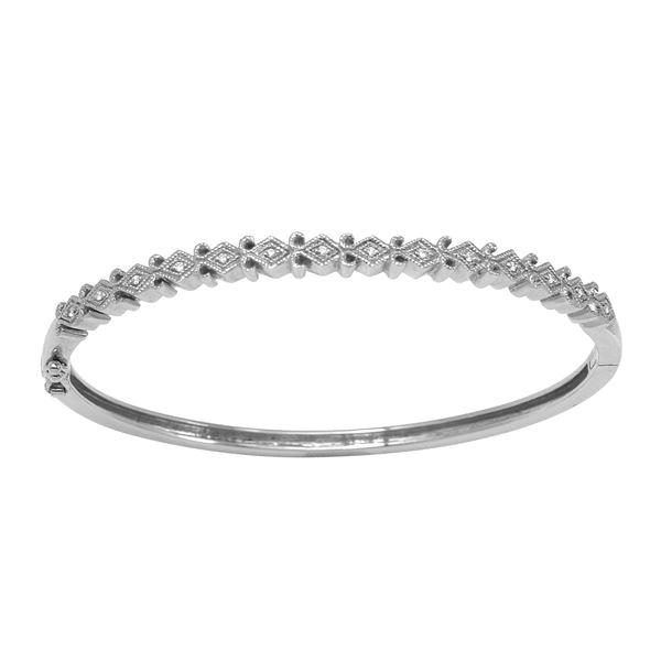 Natural 0.07 CTW Diamond Bangle 18K White Gold - REF-155R7K