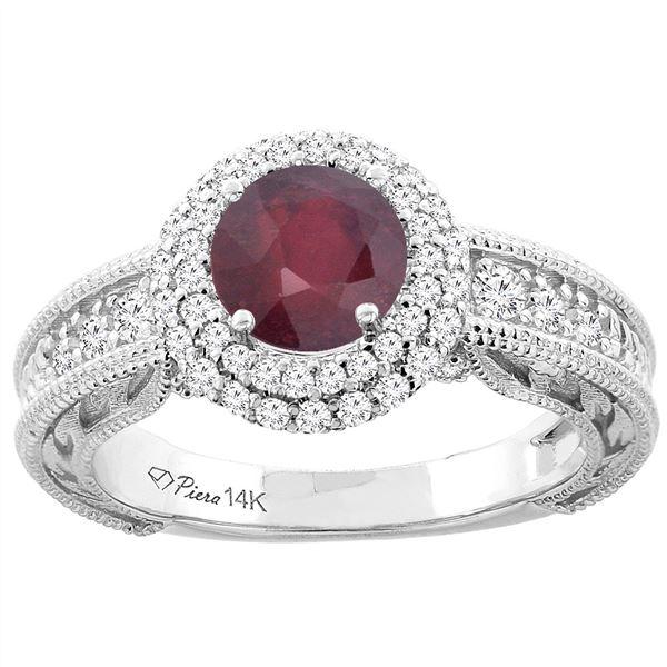 1.50 CTW Ruby & Diamond Ring 14K White Gold - REF-87Y3V