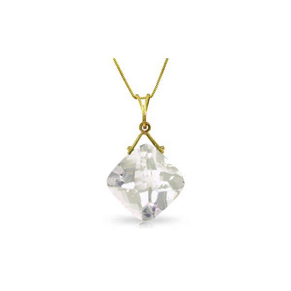 Genuine 8.75 ctw White Topaz Necklace 14KT Yellow Gold - REF-27P2H
