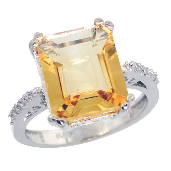 5.52 CTW Citrine & Diamond Ring 14K White Gold - REF-54W4F