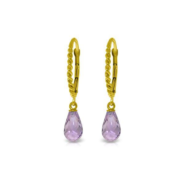 Genuine 3 ctw Amethyst Earrings 14KT Yellow Gold - REF-24T3A