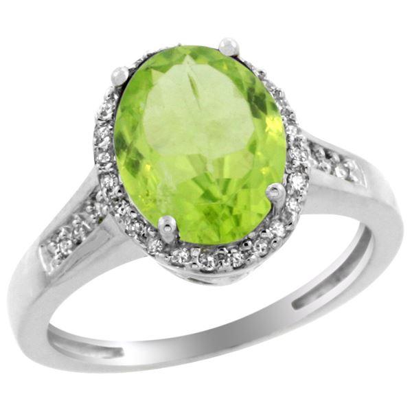 2.60 CTW Peridot & Diamond Ring 14K White Gold - REF-58F9N