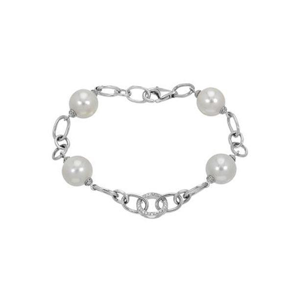 Natural 33.99 CTW Freshwater Pearl & Diamond Bracelet 18K White Gold - REF-136M8F
