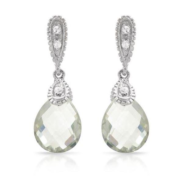 Natural 4.7 CTW Amethyst & Diamond Earrings 14K White Gold - REF-38M7F
