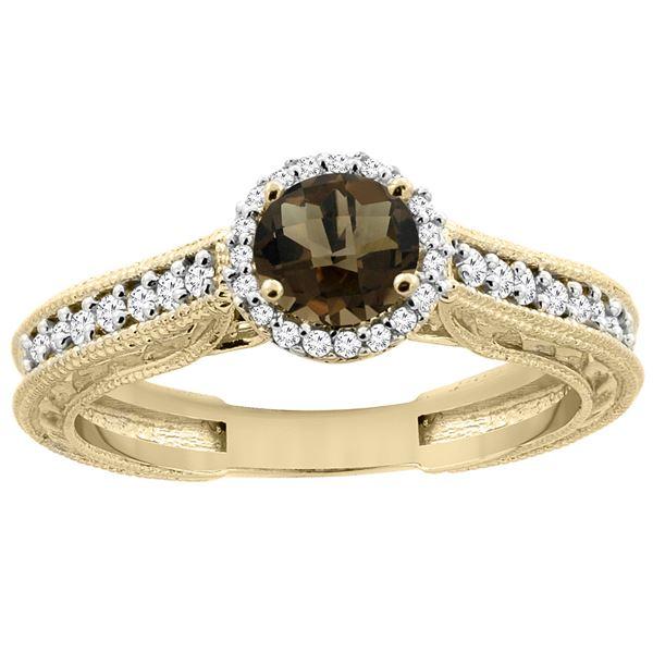 1.24 CTW Quartz & Diamond Ring 14K Yellow Gold - REF-57A4X