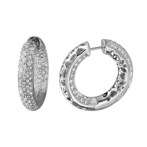 Natural 2.81 CTW Diamond Earrings 14K White Gold - REF-280X8T