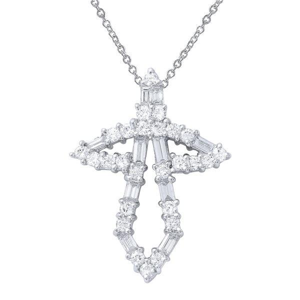 Natural 1.14 CTW Diamond & Baguette Necklace 18K White Gold - REF-156X6T