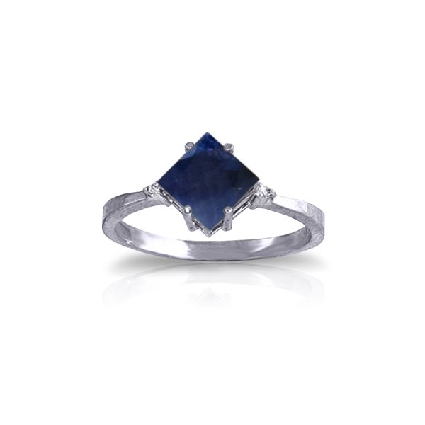 Genuine 1.46 ctw Sapphire & Diamond Ring 14KT White Gold - REF-32P9H