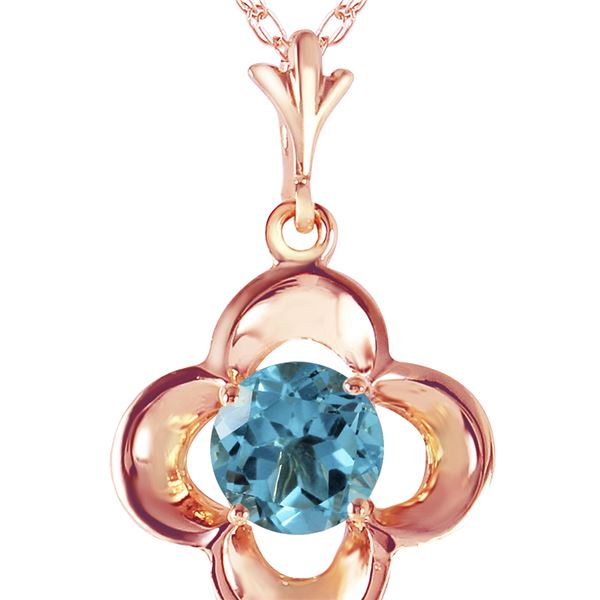 Genuine 0.55 ctw Blue Topaz Necklace 14KT Rose Gold - REF-23F6Z