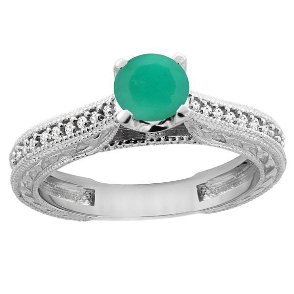 0.66 CTW Emerald & Diamond Ring 14K White Gold - REF-54F4N