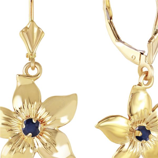 Genuine 0.20 CTW Sapphire Earrings 14KT Yellow Gold - REF-66R5P