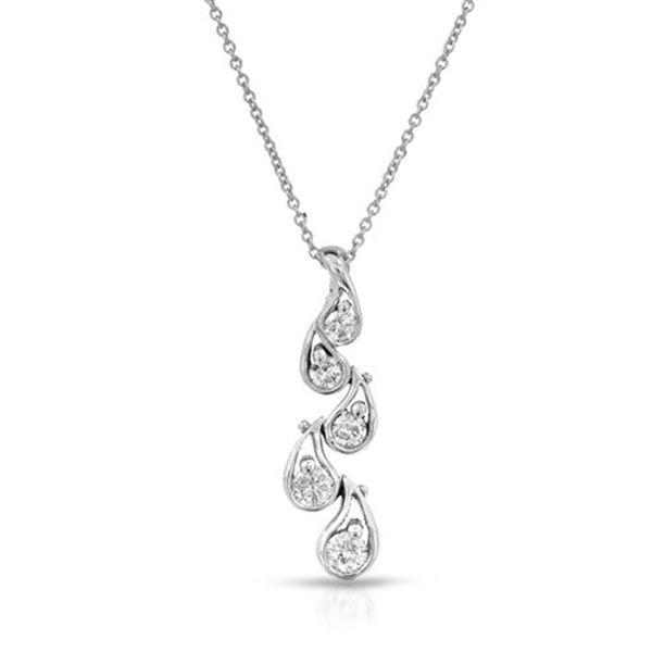 Natural 0.50 CTW Diamond & Pendant 14K White Gold - REF-64Y8N