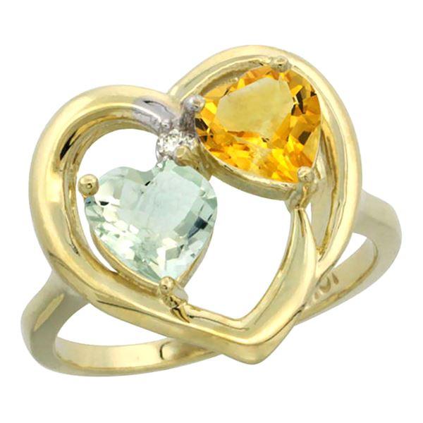 2.61 CTW Diamond, Amethyst & Citrine Ring 14K Yellow Gold - REF-33K9W