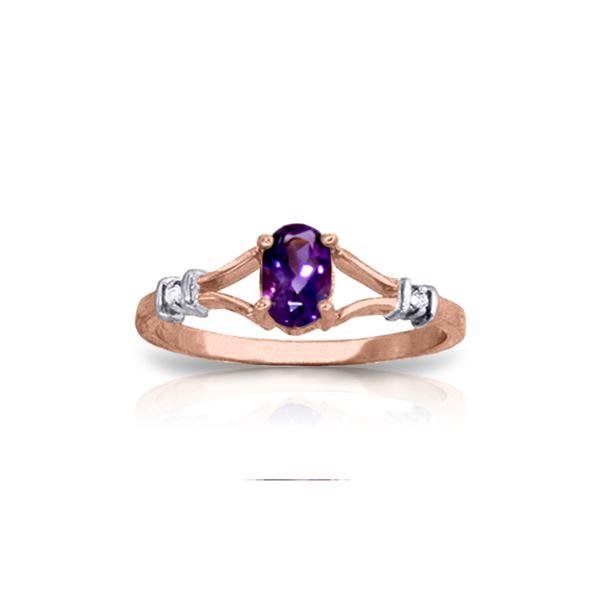 Genuine 0.46 ctw Amethyst & Diamond Ring 14KT Rose Gold - REF-27V2W