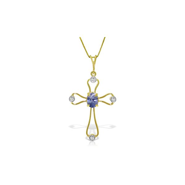 Genuine 0.57 ctw Tanzanite & Diamond Necklace 14KT White Gold - REF-44F4Z