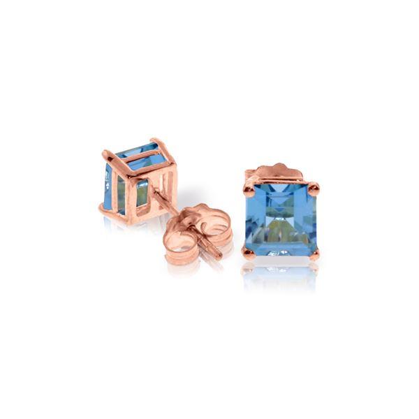 Genuine 1.75 ctw Blue Topaz Earrings 14KT Rose Gold - REF-24V3W