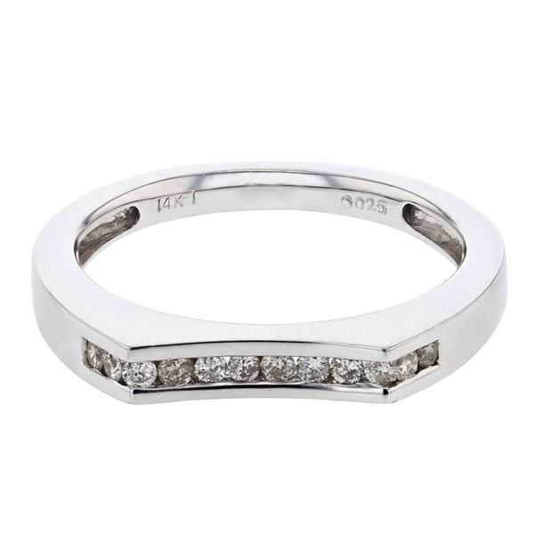 Natural 0.25 CTW Diamond Band Ring 14K White Gold - REF-50H4W