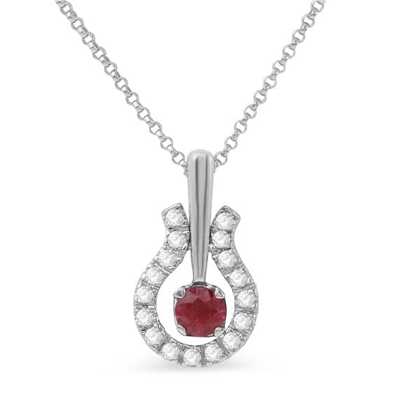 Natural 0.59 CTW Ruby & Diamond Necklace 14K White Gold - REF-49M5F