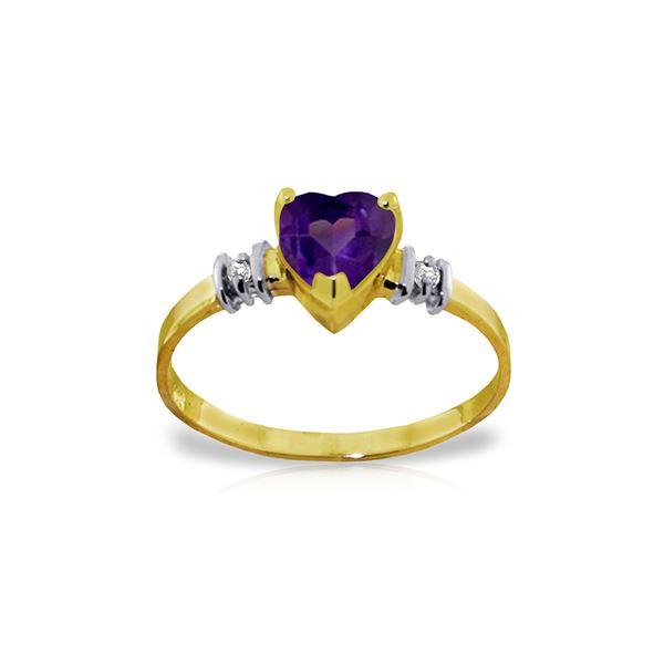 Genuine 0.98 ctw Amethyst & Diamond Ring 14KT Yellow Gold - REF-31Z2N