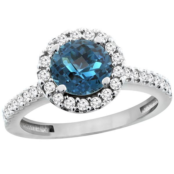 1.38 CTW London Blue Topaz & Diamond Ring 14K White Gold - REF-61M2K