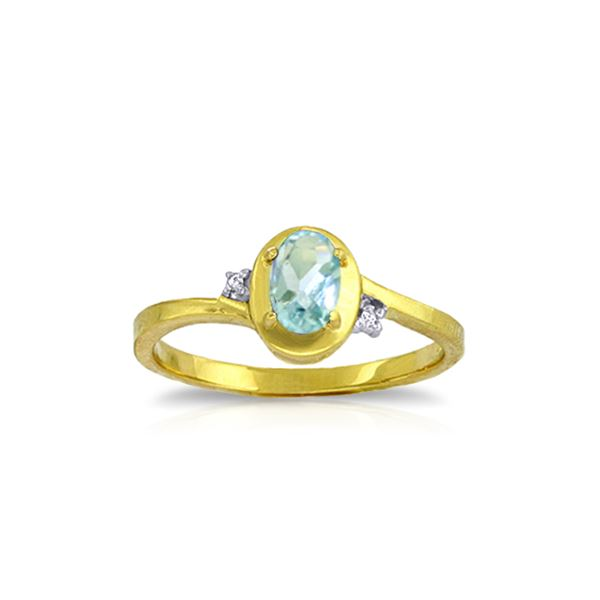 Genuine 0.51 ctw Aquamarine & Diamond Ring 14KT Yellow Gold - REF-27W3Y