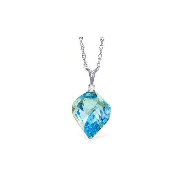 Genuine 13.95 ctw Blue Topaz & Diamond Necklace 14KT White Gold - REF-48W3Y