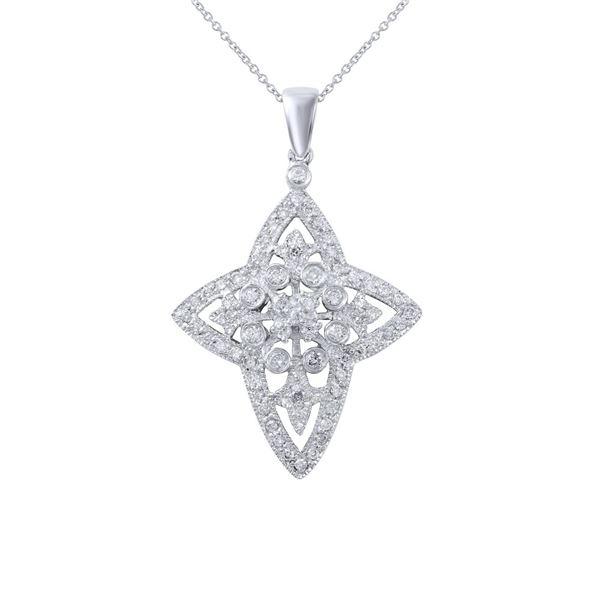 Natural 0.68 CTW Diamond & Pendant 18K White Gold - REF-99Y9N