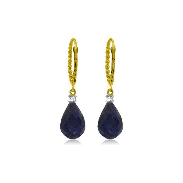 Genuine 17.7 ctw Sapphire & Diamond Earrings 14KT Yellow Gold - REF-42N6R