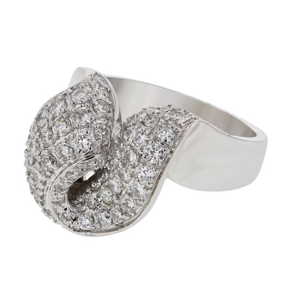 Natural 1.34 CTW Diamond Ring 18K White Gold - REF-252M9F