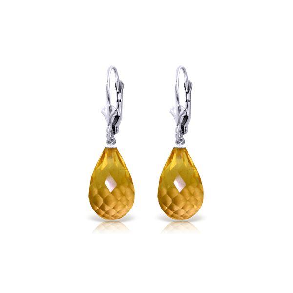 Genuine 14 ctw Citrine Earrings 14KT White Gold - REF-28Z5N