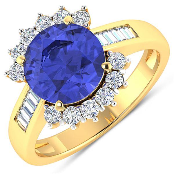 Natural 3.48 CTW Tanzanite & Diamond Ring 14K Yellow Gold - REF-143W7X