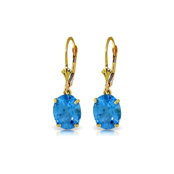 Genuine 6.25 ctw Blue Topaz Earrings 14KT Yellow Gold - REF-41X2M