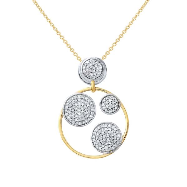 Natural 0.55 CTW Diamond Necklace 14K Two Tone Yellow Gold - REF-53R3K