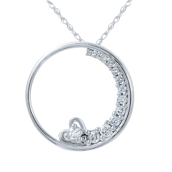 Natural 0.25 CTW Diamond Necklace 14K White Gold - REF-34M2F