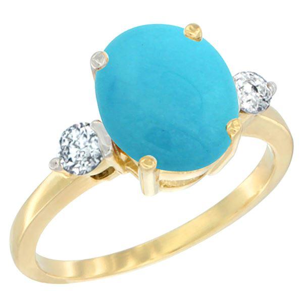 2.60 CTW Turquoise & Diamond Ring 10K Yellow Gold - REF-67R2H