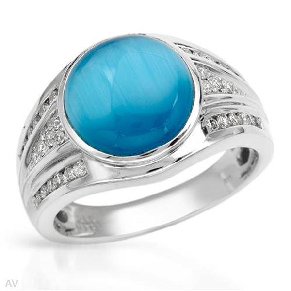Natural 5.15 CTW Blue Sapphire & Diamond Ring 14K White Gold - REF-99M2F