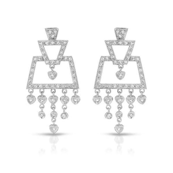 Natural 0.85 CTW Diamond Earrings 18K White Gold - REF-136Y8N